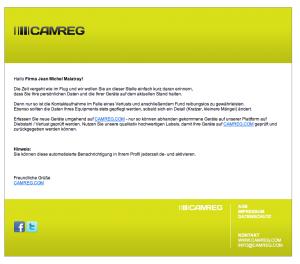 Die E-Mail erinnert noch einmal an die Pflege aktuelle Geräte, das Nachpflegen neuer Geräte und ggf. Adressänderung